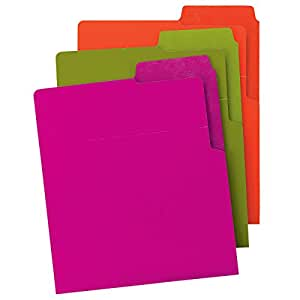 Smead Organized UP Heavyweight Vertical File Folder, Dual Tabs, Letter Size, Assorted Colors, 6 per Pack (75406)
