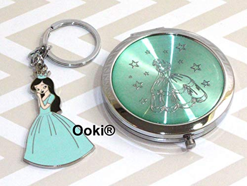 24 Princess Girl Cinderella Recuerdos para Quinceanera Sweet 16 Party Favors Compact Mirror with Keychain Baptism Communion (Aqua)]()