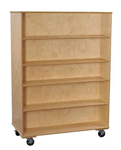 Classroom Select 1467857 Mobile Double-Sided Book Case with Adjustable Shelf, Birch veneer, 67