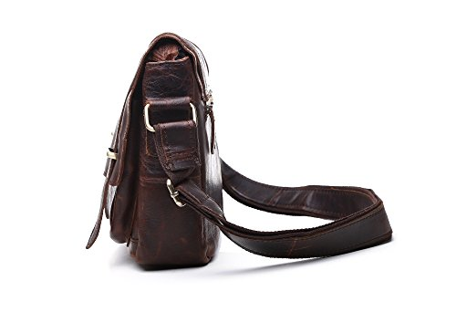 Bag Messenger Comfortable Casual Leather Chocolate Color Men's Shoulder Retro Genuine aqpEX
