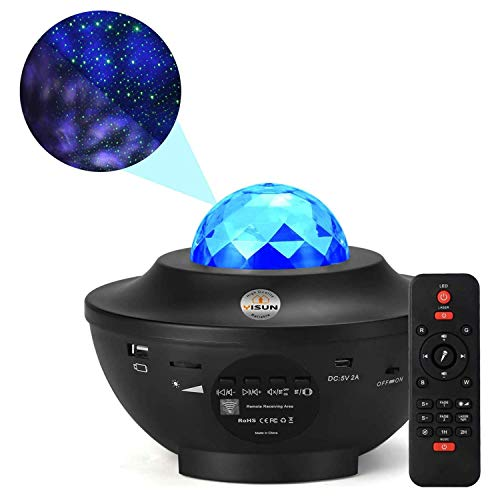 YISUN Star Projector Night Light, Light Projector with 21 Lighting Modes, Built-in Music Player & Remote Control Ocean Wave Projector for Party Birthday Wedding Baby Kids Bedroom Gift Decor