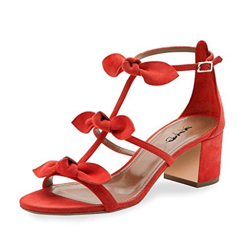 Xyd Prom Party Dress Shoes Carine T-strap Block Tacco Sandali Gladiatore Open Toe Archi Pompe Per Le Donne Rosse