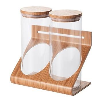 Ikea Rimforsa Halter Mit Glasern Aus Glas Und Bambus Amazon De