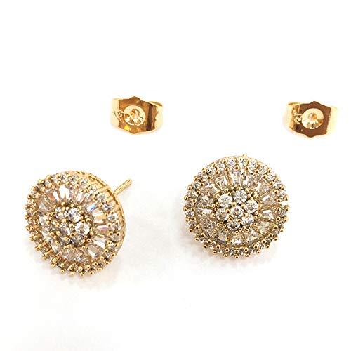 Orisignall European American Fashion Accessories Zircon Studs Earrings 11mm Precious Zircon Earrings Design for Women Girls (Plated Silver European Dinner)