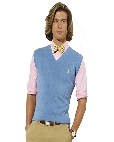 Polo Ralph Lauren Pima Cotton Mens V-Neck Blue Sweater Vest (Ralph Lauren V-neck Sweater Vest)