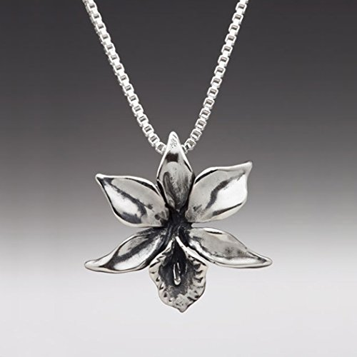 Flower Necklace Silver - Orchid Necklace Orchid Charm - Flower Charm Flower Pendant - Silver Flower - Flower Jewelry Orchid Jewelry - Orchid Pendant Necklace