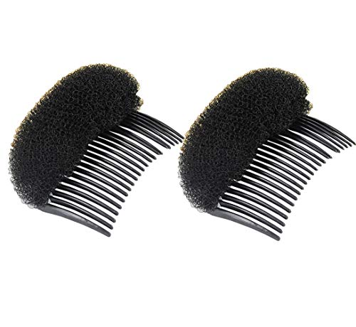 2Pcs Long 3.3inch Women Girls Retro Elegant Style Comb Foam Sponge Foam Hair Clips Bump It Up Decoration Hair Barrette Basic Styling Accessories Hairpin For Bridal Wedding Party Beach Holiday(Black) (Best Comb For Pompadour)