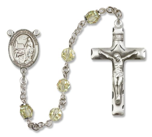 Our Lady of Lourdes Jonquil Yellow Swarovski Austrian Tin Cut Aurora Borealis Crystal Patron Saint Sterling Silver Religious Catholic Prayer Rosary