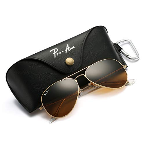 Pro Acme Aviator Large Metal Sunglasses, 58mm (Gold Frame/Crystal Brown)