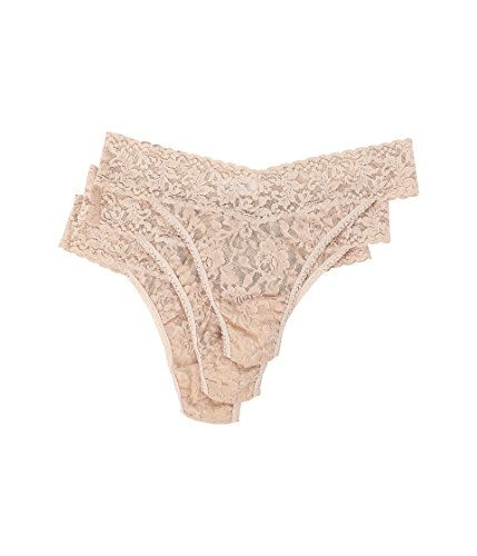 Lace Hanky Signature Panky Thong - Hanky Panky Women's Signature Lace Original Rise Thongs - One Size - Chai , (Pack of 3)
