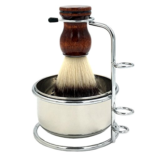 PerPro Mens Shaving Grooming Sets, Beautiful Stainless Steel Shaving Soap Bowl and Shaving Stand Brush for Safety Blade Razor and Double Edge Razor