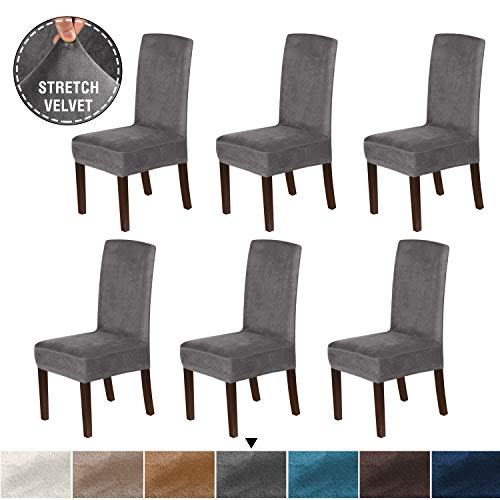 H.VERSAILTEX Original Velvet Stretch Dining Room Chair Covers Velvet Plush Removable Washable Kitchen Parson Chair Slipcovers for Hotel, Dining Room, Ceremony, Set of 6, Gray
