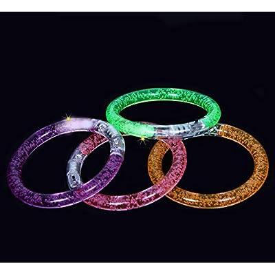 Dazzling Toys Multi-Colored Light-up LED Lights Flashing Glow-Bracelet Bangles Set of 6: Toys & Games