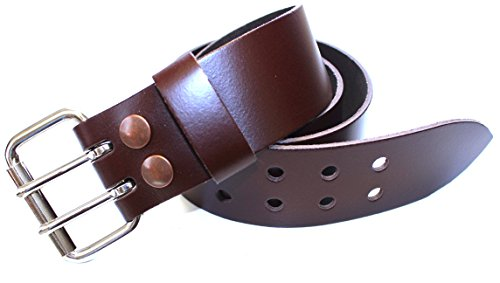 Plain Brown 100% Leather Utility Kilt Belt with Double Pronged Interchangeable Buckle (Stock Kilt)