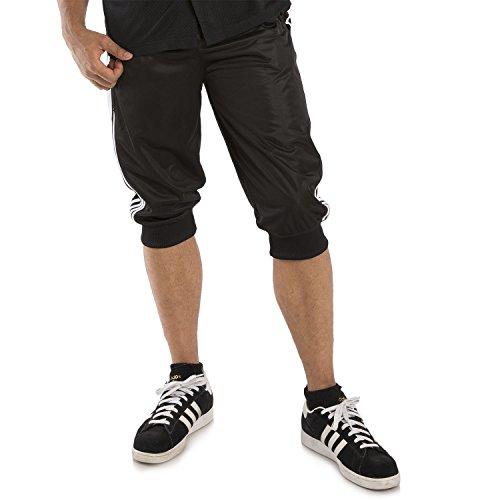 """Vibes Men Tricot Jogger Capri Short White 4 Stripes Side Seams 18"""" Inseam Size Large Black"""