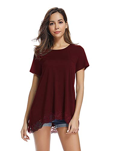 Women's Short Sleeve Lace Trim A-Line T Shirt, O Neck Tunic Blouse Tops Wine Red 2XL