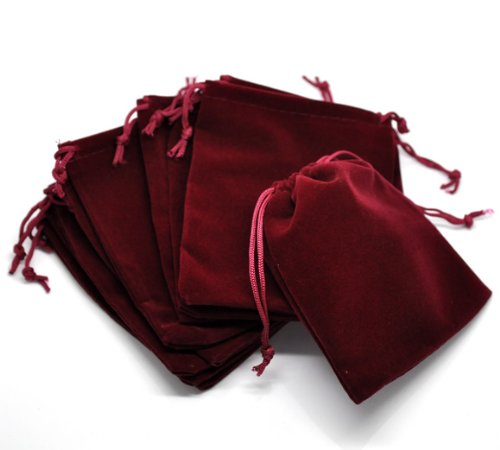 PEPPERLONELY Brand 10PC Dark Red Velvet Drawstring Pouches Jewelry Gift Bags 12x10cm (4-3/4 x 4 Inch)