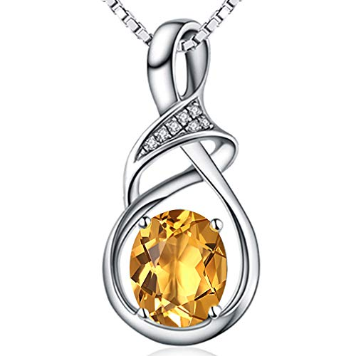 (Fine Jewelry Gift for Women 925 Sterling Silver Natural Gemstone Pendant Necklace Oval Citrine)