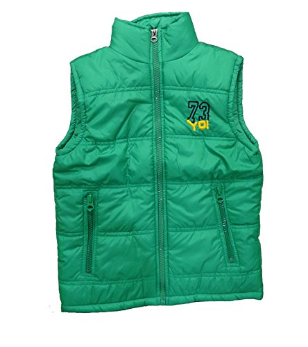 Alfa Yo Premium Sleeveless Solid Kids Quilted Green Jacket [10-12 Year]