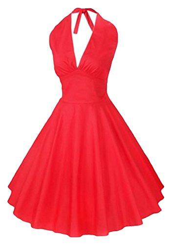 Amazon.com: AvaCostume 1960s Fashion Deep V Neck Halter Backless Puff Flare Vintage Dresses: Clothing