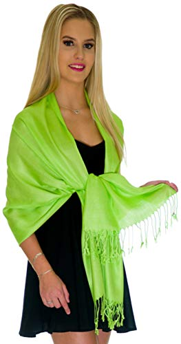 (Pashmina Shawls and Wraps - Large Scarfs for Women - Party Bridal Long Fashion Shawl Wrap with Fringe by Petal Rose (Bright Lime)