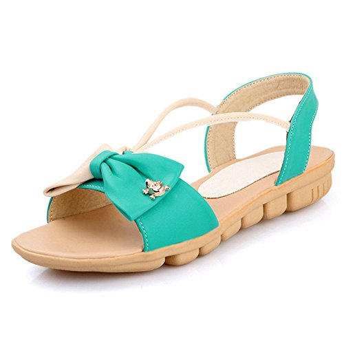 LongFengMa Women Fashion Comfort Flats Sandals with Bowtie Blue
