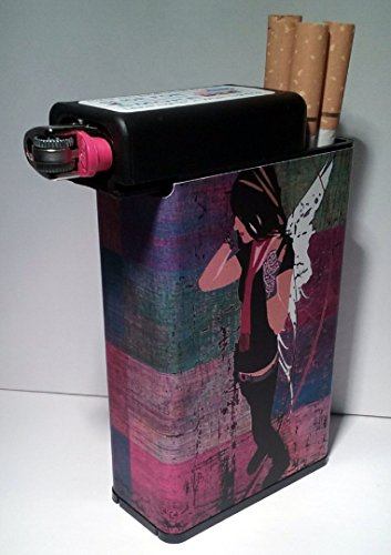 Cigarette Case Fairy Angel with Built on Lighter Holder Box (Case Cigarette Angel)
