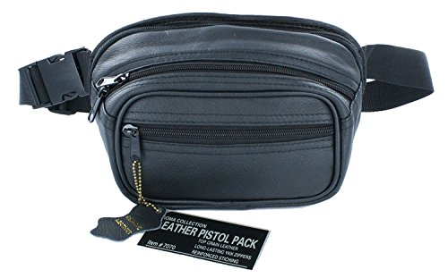 Roma Leather Small Pistol Concealment Fanny Pack - Concealed Carry Gun Pouch with Holster and Top Brass Gun Cloth