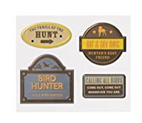 Karen Foster Adhesive Back Vintage Signs 4/Package, Bird Hunting