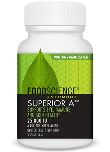 FoodScience of Vermont Superior A Soft Gels, A Dietary Supplement to Support Eye, Skin and Immune System Functions, 90 Servings