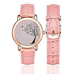 Flying Birds Decor Rose Gold Leather Strap Watch,Cute Bird Family on The Windy Tree Floral Branches Baby Mother Happiness Decorative Art for Woman,Case Diameter:1.4D
