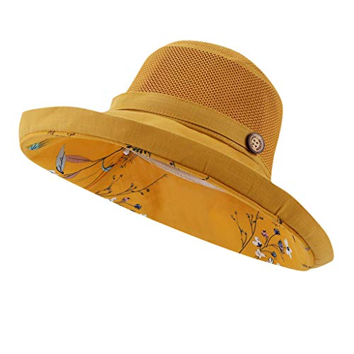 Suma-ma Womens Floral Printed Visor Fisherman Hats,Ladies Foldable Empty Top Sunhats Wide Brim Beach Caps Casual Hat(Yellow,One Size)