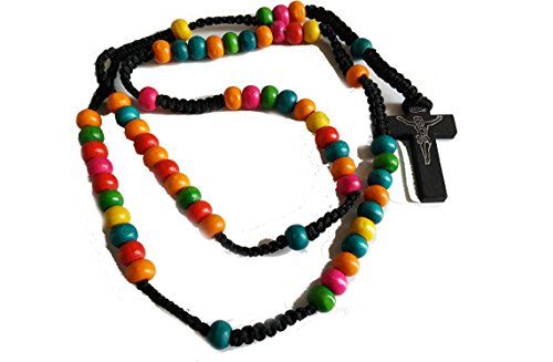 - Saint Benedict Rosario de Madera Jerusalem Vintage Wooden Rosary Beautiful! Colourful Beads Cross Necklace Pendant Crucifix Chain Rosario Rosery Chaplet Holy Prayer Pray Anglican Men Women