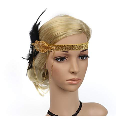 Flapper Headband Great Gatsby Headpiece Bridal Feather Headband Kentucky Derby Hair Accessories (Black Band) (Gold)