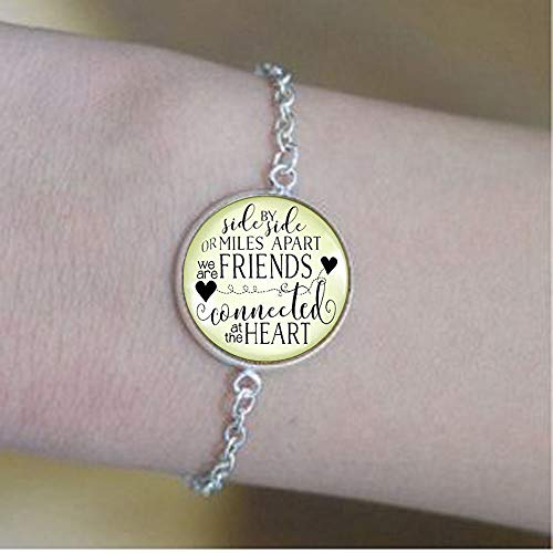 Best Friends Keychain Side by Side Miles Apart Long Distance Quote Friendship Gift Jewelry Bracelets -Positive Message JewelrySoul Clean and My B Domed Metal Key Ring