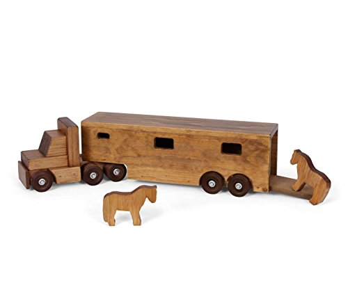 Amish-Made-Large-Wooden-Horse-Trailer-Semi-Truck-Toy-Set