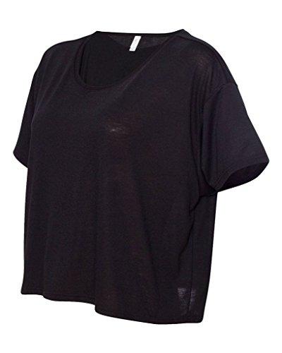 Bella–Chaqueta de Flowy Boxy Sudadera recortada camiseta negro
