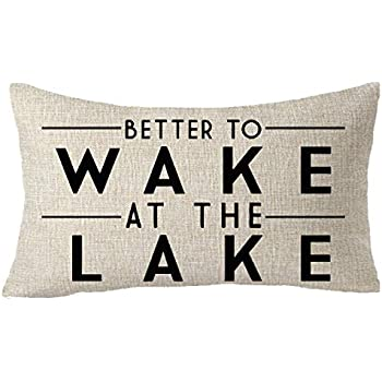 FELENIW Better to Wake at The Lake Adventure Awaits Cotton Linen Decorative Throw Pillow Cover Cushion Case Lumbar 12X20 inches
