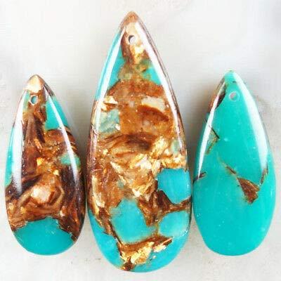 (FidgetFidget 3pcs/Set Green Jade & Gold Copper Bornite Stone Teardrop Pendant Bead)