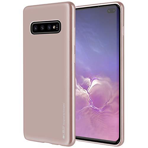 Galaxy S10 Plus Case, GOOSPERY [Slim Fit] i-Jelly [Metallic Finish] Rubber TPU Case [Flexible] Bumper Cover (Rose Gold) S10P-IJEL-PNK