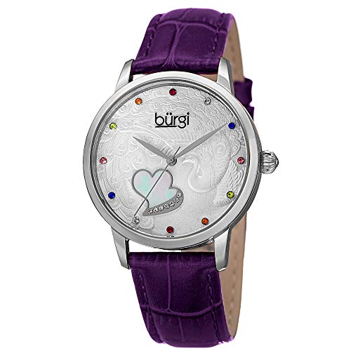 (Burgi Swarovski Crystal Accented Women's Watch - On Peacock and Mother-of-pearl Heart Dial On Embossed Leather Strap - BUR149 )