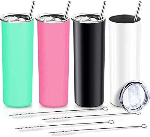 XccMe 20 oz. Skinny Tumblers with Straws, 4 Pack Stainless Steel Double Wall Insulated Cups with Lids Travel Mug, for Men and Women, Beverages,coffe (Pink White Black Green)