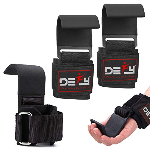 DEFY Challenge Your Fear Weight Lifting Hooks Heavy Duty Lifting Wrist Straps for Pull-ups Thick Padded Neoprene, Double Stitching, Non-Slip Resistant Coating (Black)