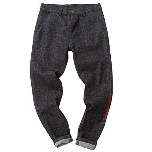 Hombre Jeans Pantalones,Sonnena Vaqueros Ocasionales de algodón de la Vendimia del otoño Denim Cotton Wash Pantalones de Trabajo Jeans Pantalones Larga I