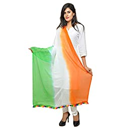 Banjara India Soft Chiffon Solid Tricolor Dupatta – Super Tiranga