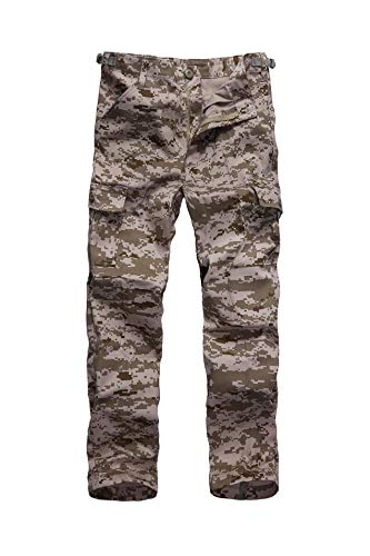 Camo Digital Desert Kids - BACKBONE Boys Girls Kids Combat Army Ranger Camping Outdoor camo Cargo Pants Trousers (Size M = Waist 28