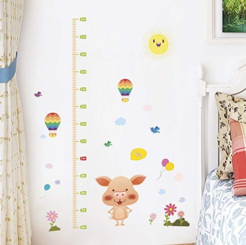 Your boy-HT Cartoon Animal Piggy Balloon Height Measure Wall Stickers For Kids Rooms Home Decor Pvc Growth Chart Wall Decals Diy Mural Art130X105Cm