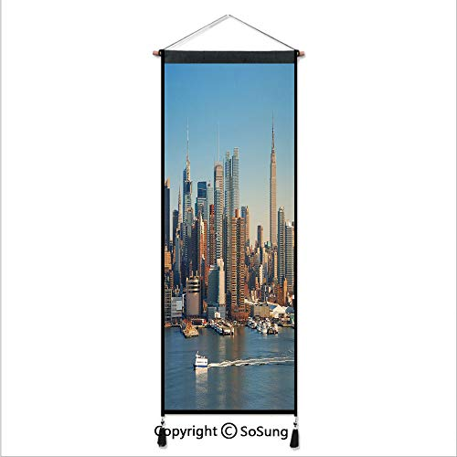 Urban Tapestry Wall Hanging,New York City Skyline Over Hudson River Empire State Building Boats and Skyscrapers,Home Art Decor Beautiful Apartment Dorm Room Decoration,17.7