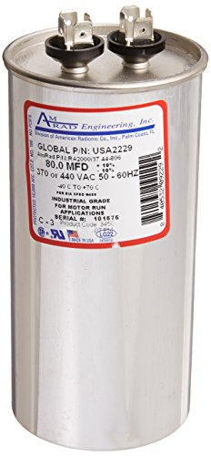 AMRAD ENGINEERING USA2229 Round USA-Made Motor Run Capacitor, 80 Mfd, 370/440 Vac-132336