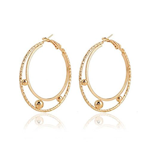 Christmas GERGER BO Women's C-shaped Multi-shaped Circle Unique Solid Golden Color Earrings(Style4)